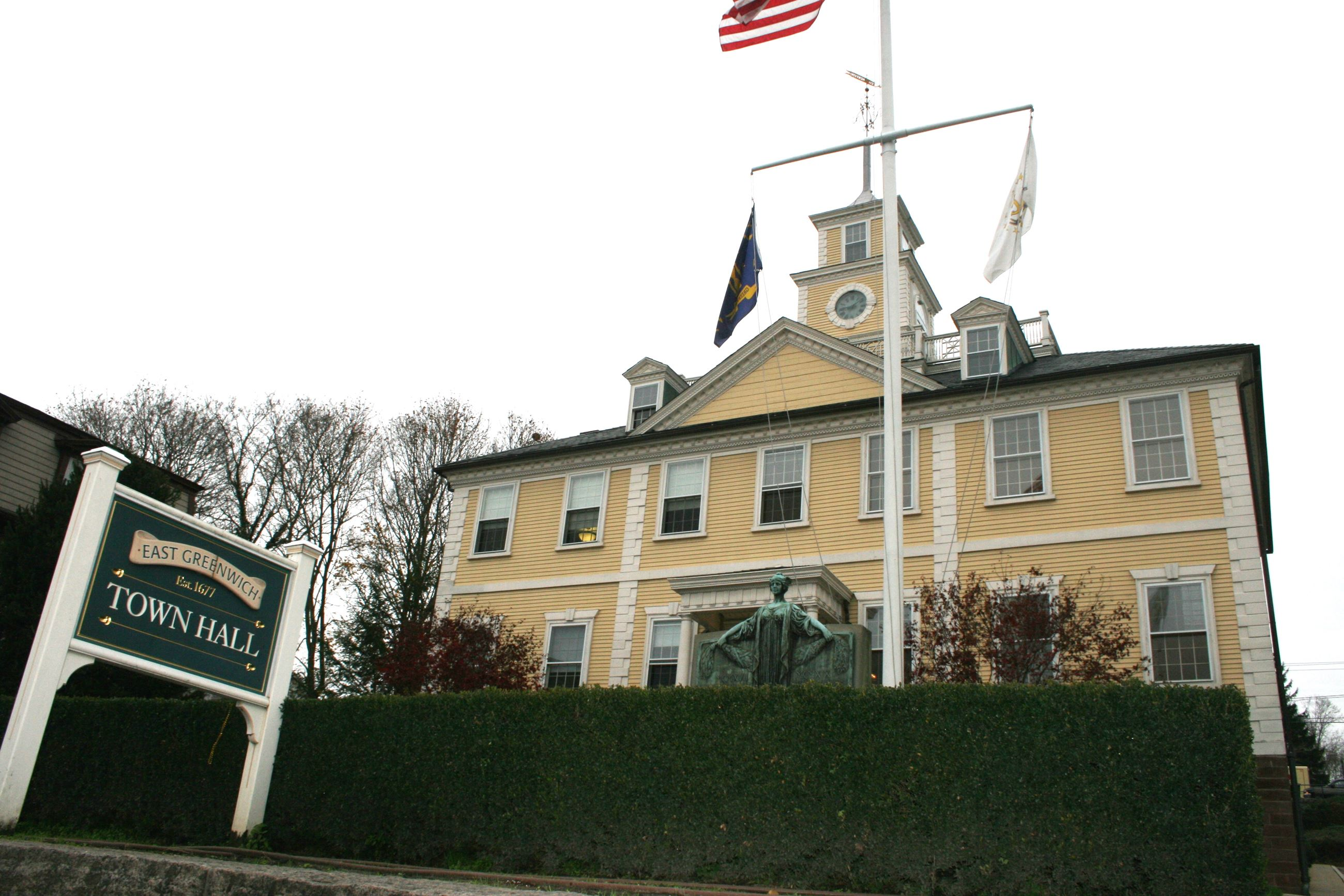 Image of East Greenwich Town Hall with Sign and Statue