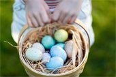Basket of colored eggs