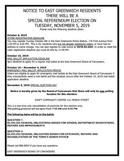 Notice on Special Election