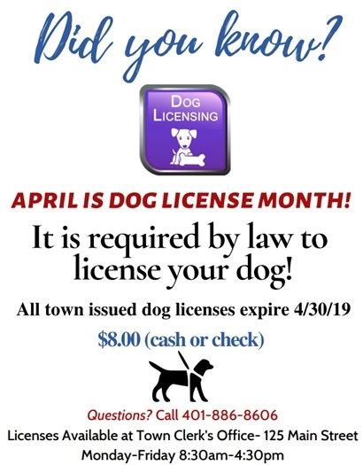 Dog Licenses Expire April 2019