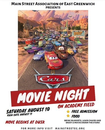 Main Street Movie Night Cars Poster August 10, 2019